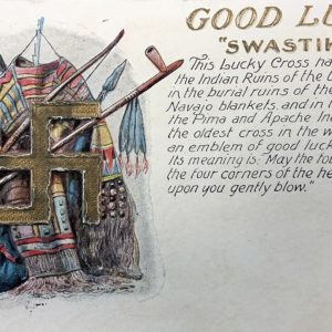 A postcard from 1907 showing the Navajo Good Luck symbol.