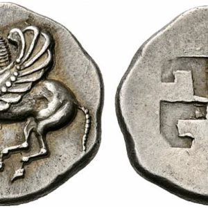 Swastika on a Greek silver stater coin from Corinth, 6th century BCE