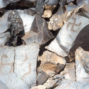 The petroglyph with swastikas, Gegham mountains, Armenia